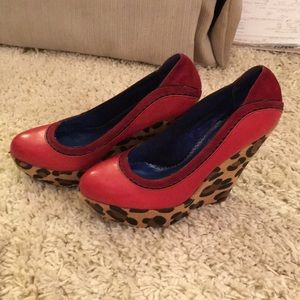 Poetic Licence red leather animal print wedges.